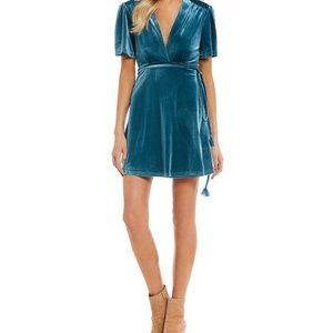Teal velvet wrap dress